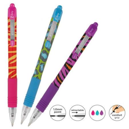 Olovka hemijska Zebra Z-Grip Animal Funky Brights 1,0-3/set (Ink- Blue, Pink, Purple) 02433/ 5024475024335