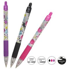 Hemijska olovka Zebra Z-Grip Floral Neon 1,0 3/set (Ink- Black, Pink, Violet) 02500/ 5024475025004