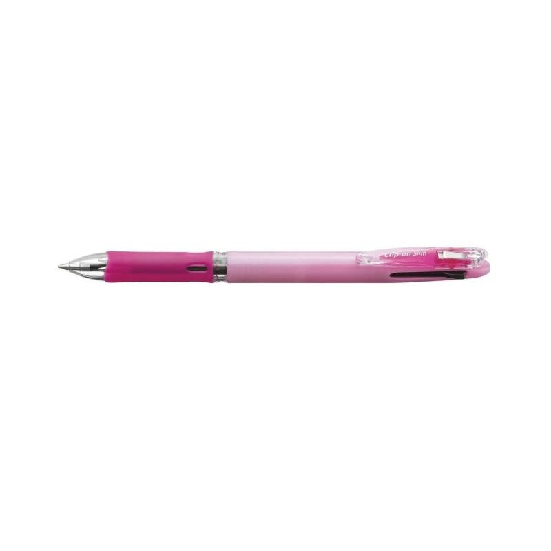 Olovka hemijska Zebra Clip On Slim 4C 0,7 Pastel Pink (4 boje u jednom telu, crna+plava+zelena+crvena) 45977/ 4901681459773/